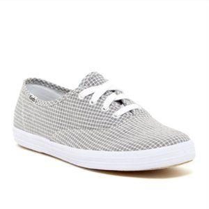Keds Champion Gray Seersucker Gingham Sneakers